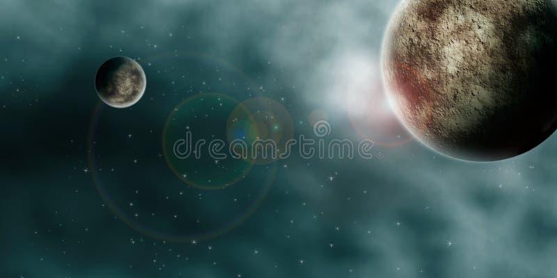 Panorama dei pianeti dello spazio cosmico illustrazione di stock