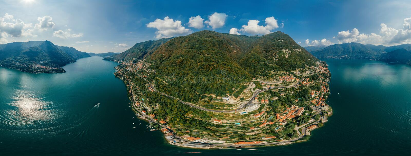 Panorama del abejón de la realidad virtual del vr del aire 360 del abejón del lago italy Como fotos de archivo libres de regalías