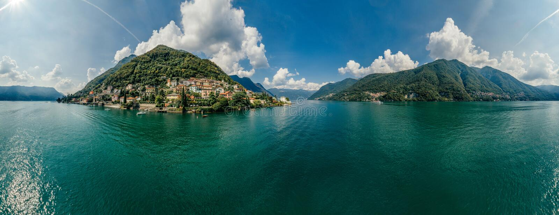 Panorama del abejón de la realidad virtual del vr del aire 360 del abejón del lago italy Como fotografía de archivo libre de regalías