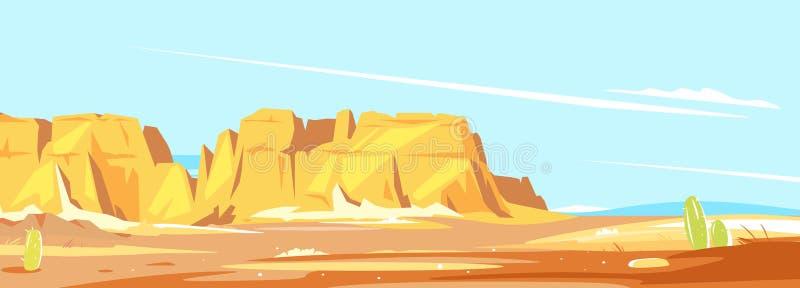 Panorama del barranco del desierto ilustración del vector