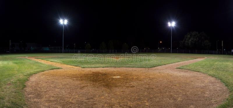 Panorama del campo de béisbol vacío en la noche de detrás la coronilla casera imagen de archivo