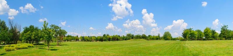 Panorama del campo verde del prato inglese con gli alberi nei precedenti Parco al palazzo di Mogosoaia vicino a Bucarest, Romania fotografie stock