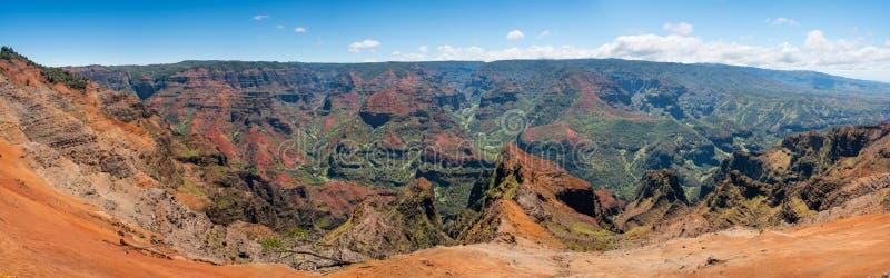 Panorama del canyon di Waimea su Kauai fotografia stock libera da diritti