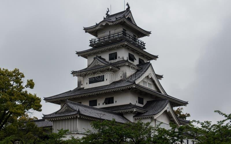 Panorama del castillo del agua de Imabari Imabari, prefectura de Ehime, Jap?n fotos de archivo