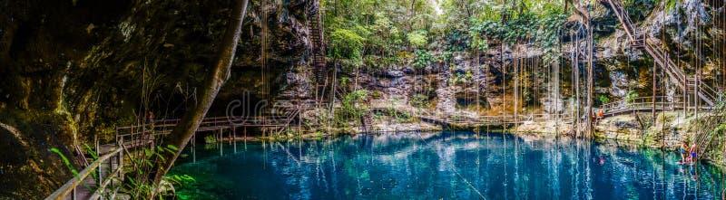 Panorama del cenote de Canche Cenote del ` x, península del Yucatán, México imágenes de archivo libres de regalías