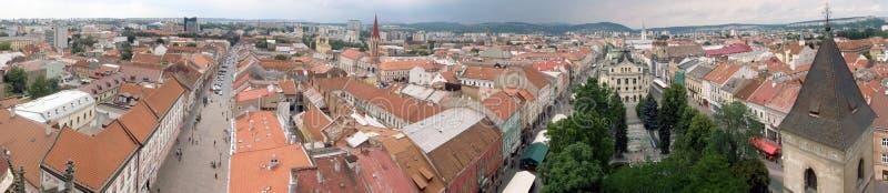 Panorama del centro de ciudad en Kosice fotografía de archivo
