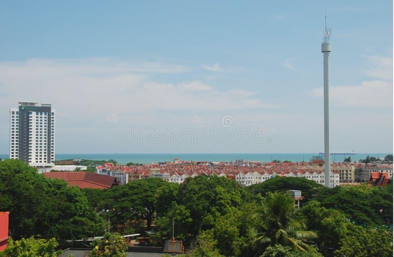 Panorama del centro de ciudad de Melaka fotografía de archivo