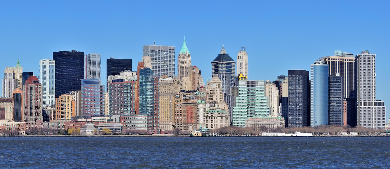 Panorama del centro di New York City Manhattan immagini stock