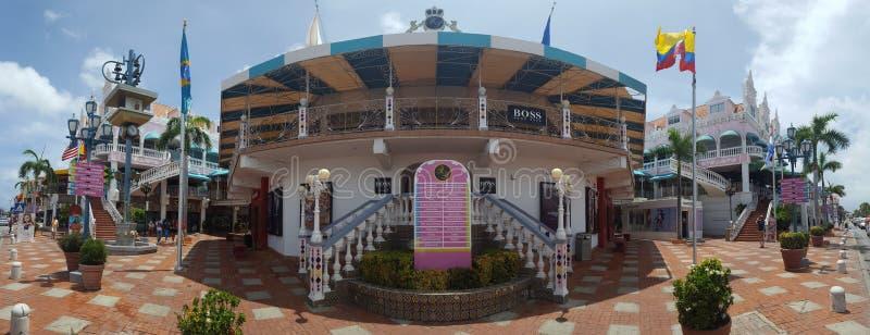 Panorama del centro di Oranjestad immagine stock libera da diritti