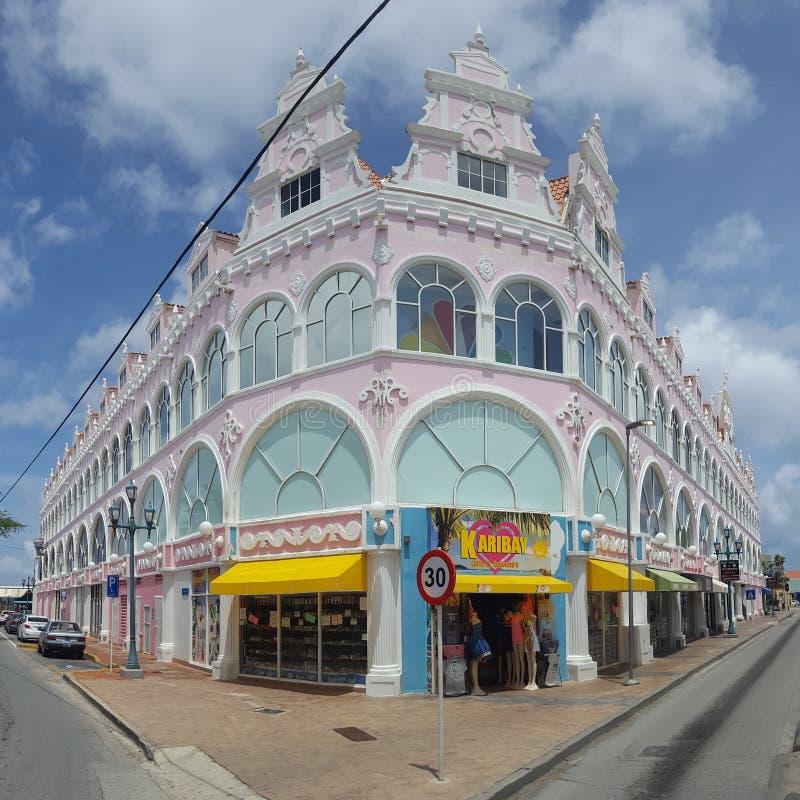 Panorama del centro di Oranjestad fotografia stock libera da diritti