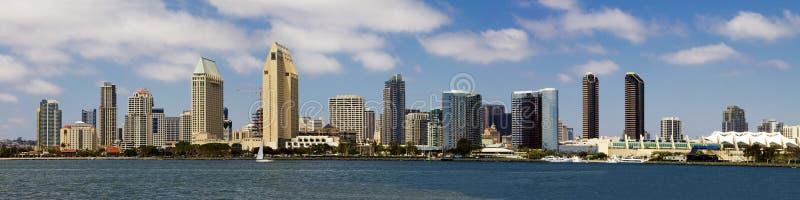 Panorama del centro di paesaggio urbano della spiaggia di San Diego immagine stock