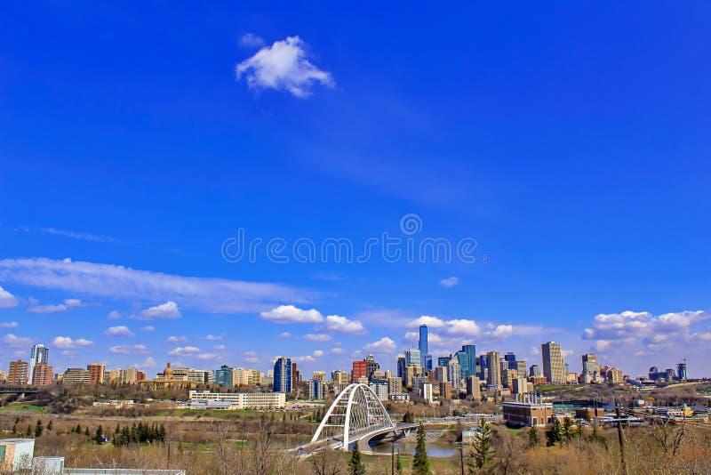 Panorama del centro luminoso dell'orizzonte di Edmonton fotografie stock libere da diritti