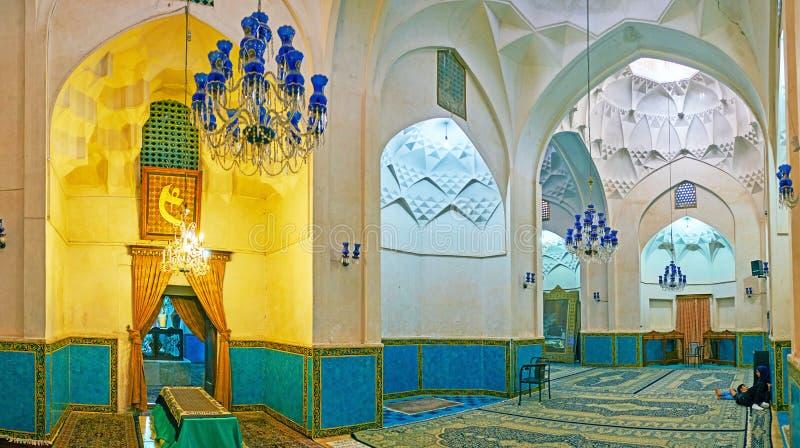 Panorama del corridoio di preghiera dello scià Nematollah Vali Shrine, Mahan, I immagine stock libera da diritti