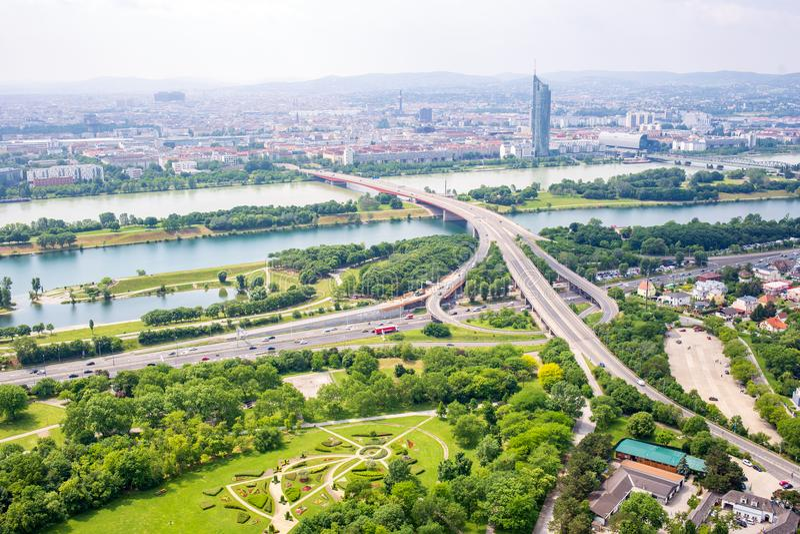 Panorama del Danubio a Vienna, Austria fotografie stock
