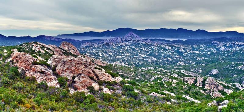 Panorama del DES Agriates del deserto in Corsica del Nord fotografie stock