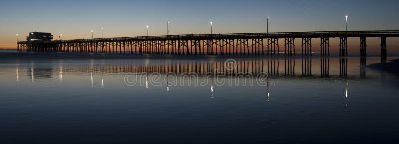Panorama del embarcadero de la playa de Newport imagen de archivo
