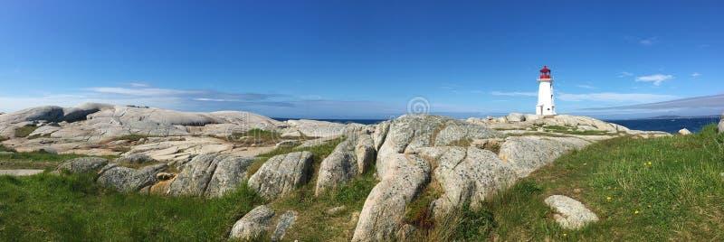 Panorama del faro della baia di Peggys, Nova Scotia, Canada fotografie stock