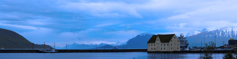 Panorama del fiordo norvegese fotografie stock libere da diritti