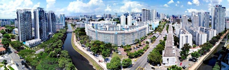Panorama del fiume di Kallang a Singapore fotografia stock