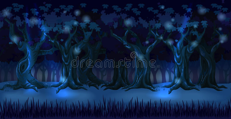 Panorama del fondo del bosque en la noche oscura libre illustration