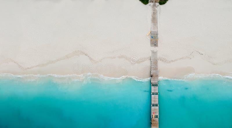 Panorama del fuco del pilastro in spiaggia in Grace Bay, Providenciales, Tu immagini stock libere da diritti