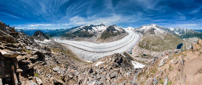 Panorama del glaciar de Aletsch de Eggishorn imágenes de archivo libres de regalías