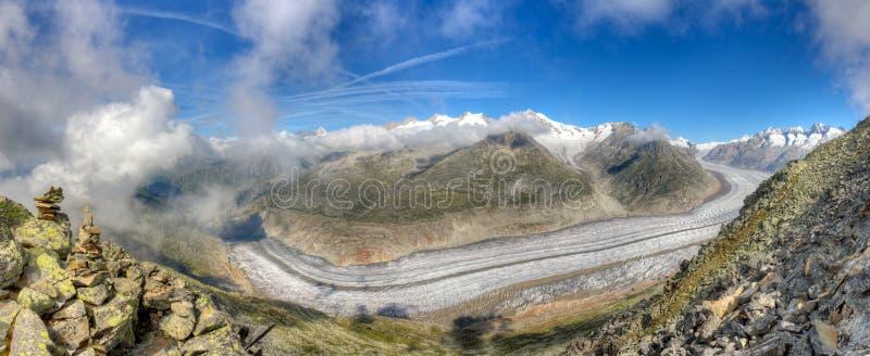 Panorama del glaciar de Aletsch, Suiza fotografía de archivo