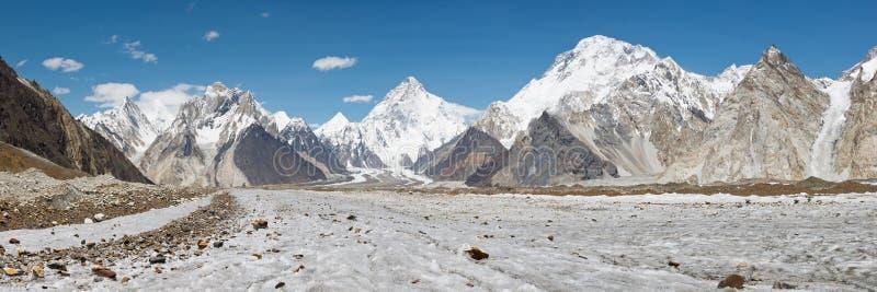 Panorama del glaciar de K2 y de Baltoro imagen de archivo libre de regalías