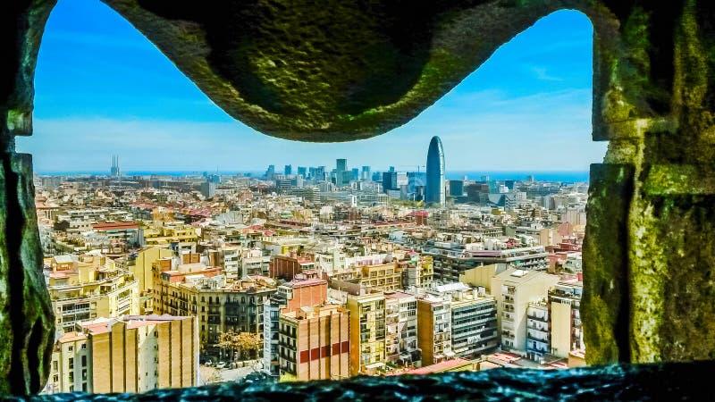 Panorama del horizonte de Barcelona, España foto de archivo libre de regalías