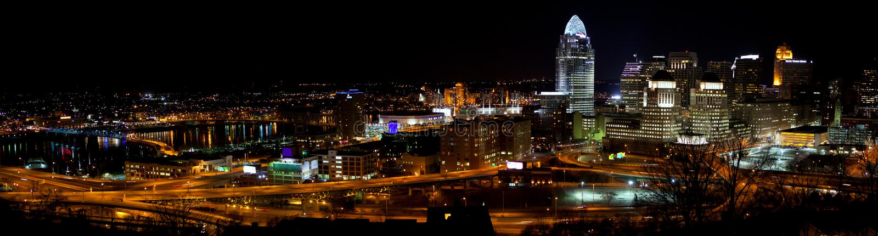 Panorama del horizonte de Cincinnati imágenes de archivo libres de regalías