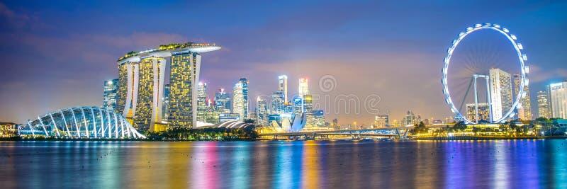 Panorama del horizonte de la ciudad de Singapur fotos de archivo libres de regalías