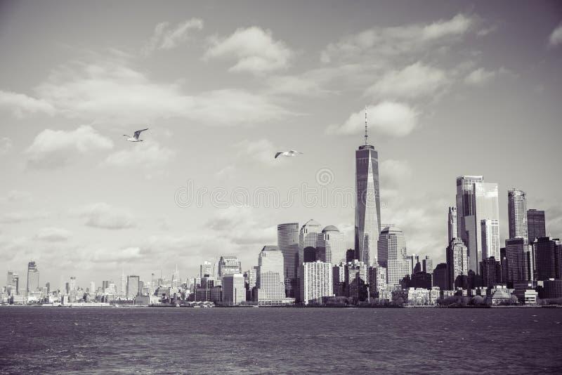 Panorama del horizonte de New York City del Lower Manhattan de Hudson River, New York City, los E.E.U.U. imágenes de archivo libres de regalías