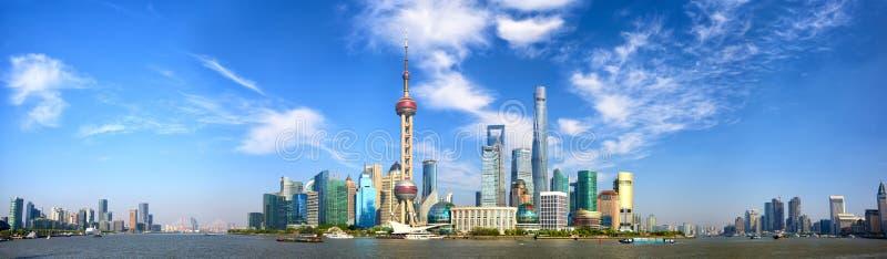 Panorama del horizonte de Shangai fotos de archivo libres de regalías