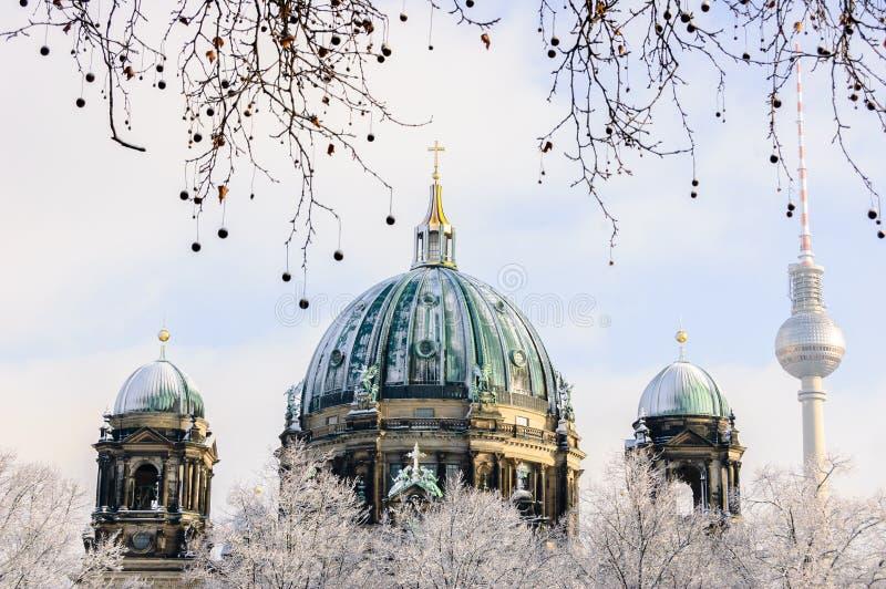 Panorama del invierno de Berlin Dom foto de archivo libre de regalías