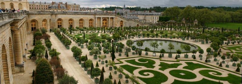 Panorama del jardín de la naranja de Versalles fotografía de archivo libre de regalías