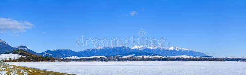 Panorama del lago del invierno fotografía de archivo libre de regalías