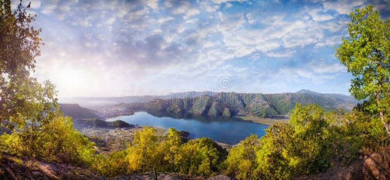 Panorama del lago Pokhara immagine stock libera da diritti