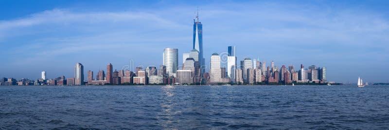 Panorama del Lower Manhattan al crepuscolo fotografia stock
