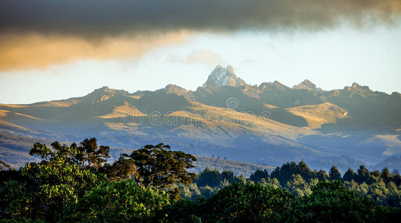 Panorama del monte Kenya fotografia stock