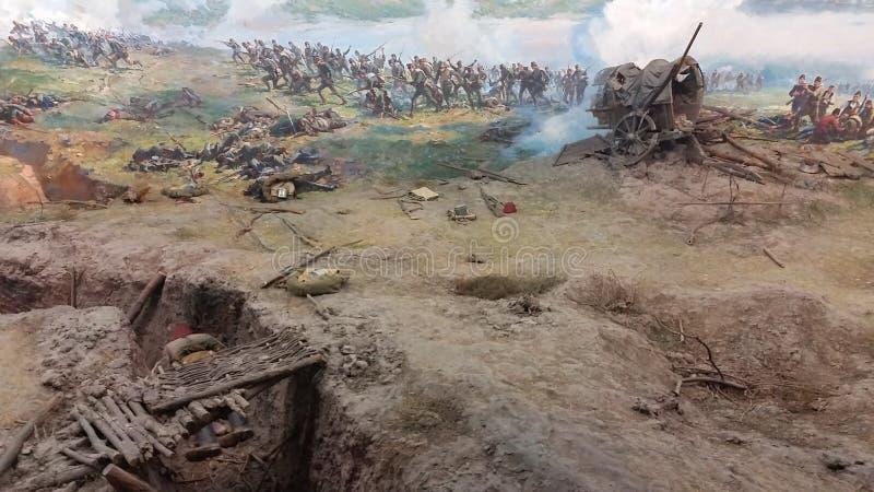 Panorama del monumento in Pleven e cannoni immagine stock