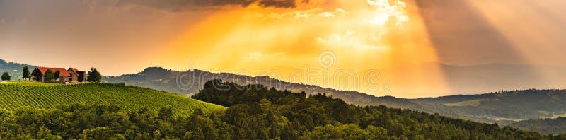 Panorama del país vinícola famoso del destino del área de Leibniz, sur Estiria, Austria de Kogelberg fotografía de archivo libre de regalías