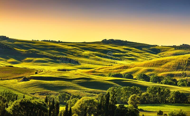 Panorama del paisaje del campo de Toscana en la puesta del sol, Rolling Hills, foto de archivo