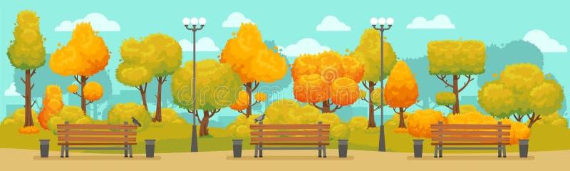 Panorama del parco di autunno del fumetto La città autunnale parcheggia la strada con gli alberi gialli e rossi Vettore panoramic illustrazione vettoriale