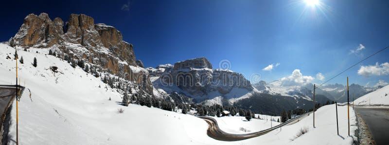 Panorama del paso de Sella, Italia fotografía de archivo libre de regalías