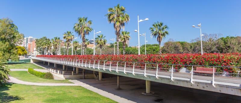 Panorama del ponte di Puente de Las Flores a Valencia immagini stock