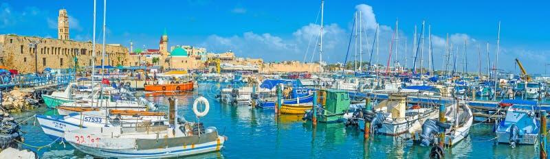 Panorama del porto di HaDayagim di San Giovanni d'Acri fotografia stock