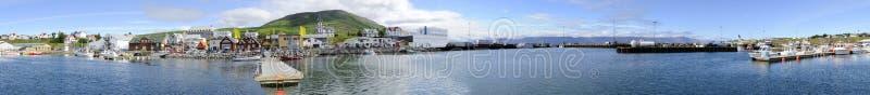 Panorama del porto di Husavik fotografia stock