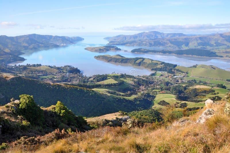 Panorama del porto di Lyttelton, Christchurch, Nuova Zelanda fotografia stock libera da diritti
