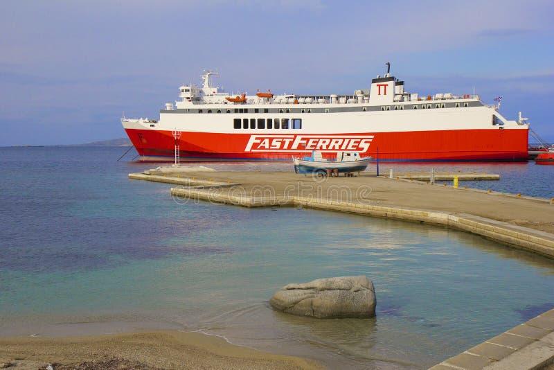 Panorama del porto di Mykonos, Grecia fotografia stock