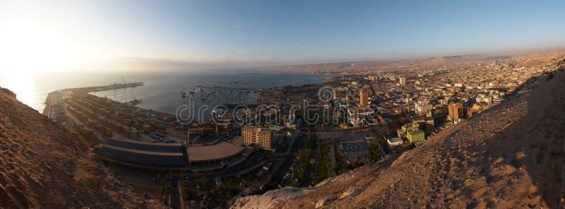 Panorama del porto marittimo di Arica, Cile fotografie stock libere da diritti